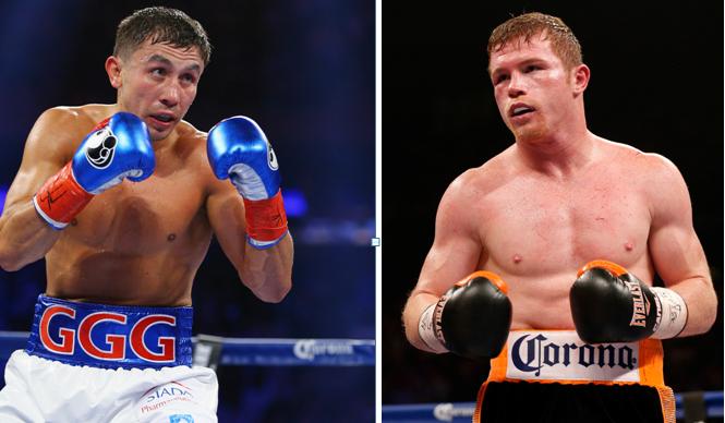 two boxers pictured standing inside ring Golovkin vs Alvarez
